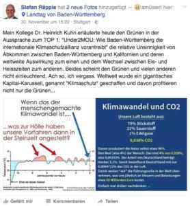Leugnet den Klimawandel auf seiner Facebook-Seite: AfD-MdL Stefan Räpple